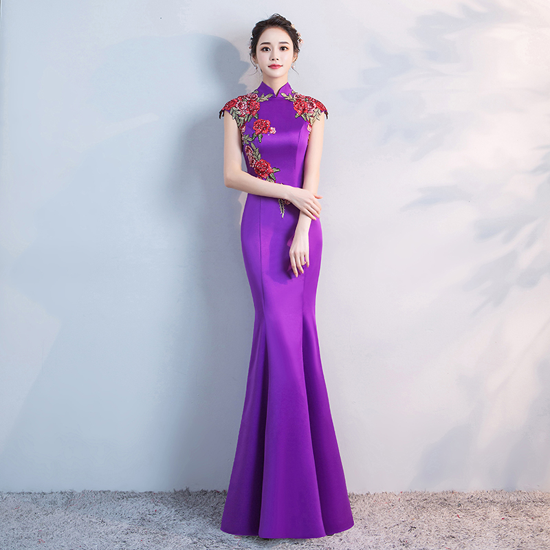 Purple Chinese Wedding Long Cheongsam Retro Sexy Slim Party Evening Dress Marriage Gown Qipao Fashion Lady