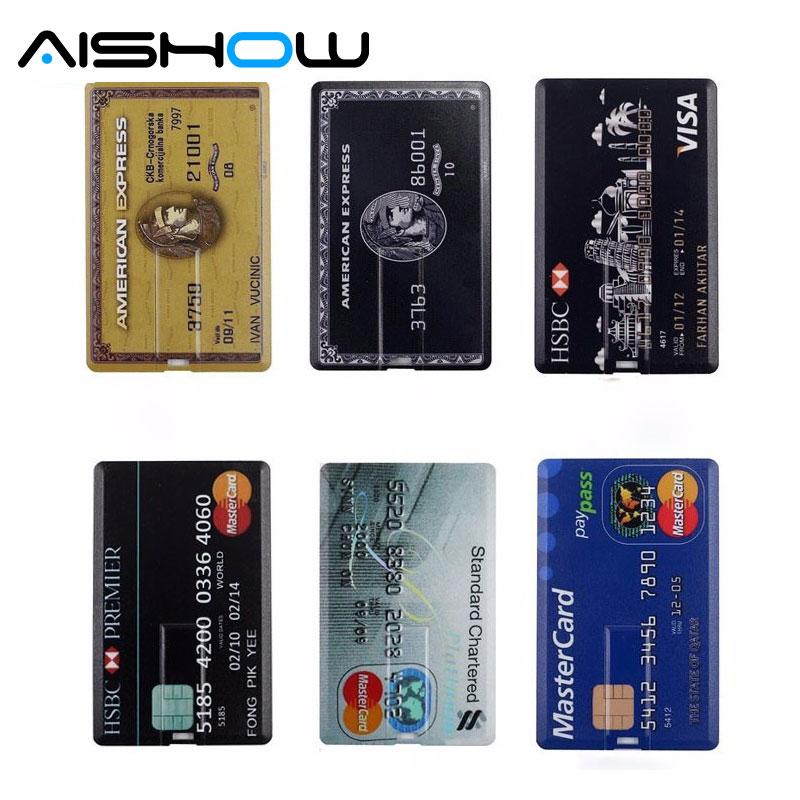 Neperšlampamas USB Flash Drive Pen Drive 4GB 8GB 16GB 32GB 64GB Banko kreditinės kortelės formos Memory Stick pendrive u diskų kortelė