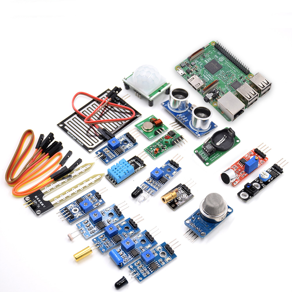 Free Shipping 16 In 1 Sensor Kit With Raspberry Pi 3 Model B Board Learning Kit For Starters