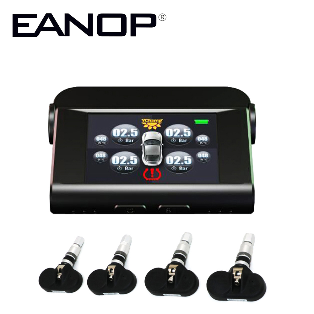 EANOP Internal Solar Car TPMS LCD Type Pressure Monitoring System Tpms Guage Diagnostic Tool tire Pressure  Alarm + Car Charger original autel maxitpms ts501 with obd2 adapters tpms diagnostic