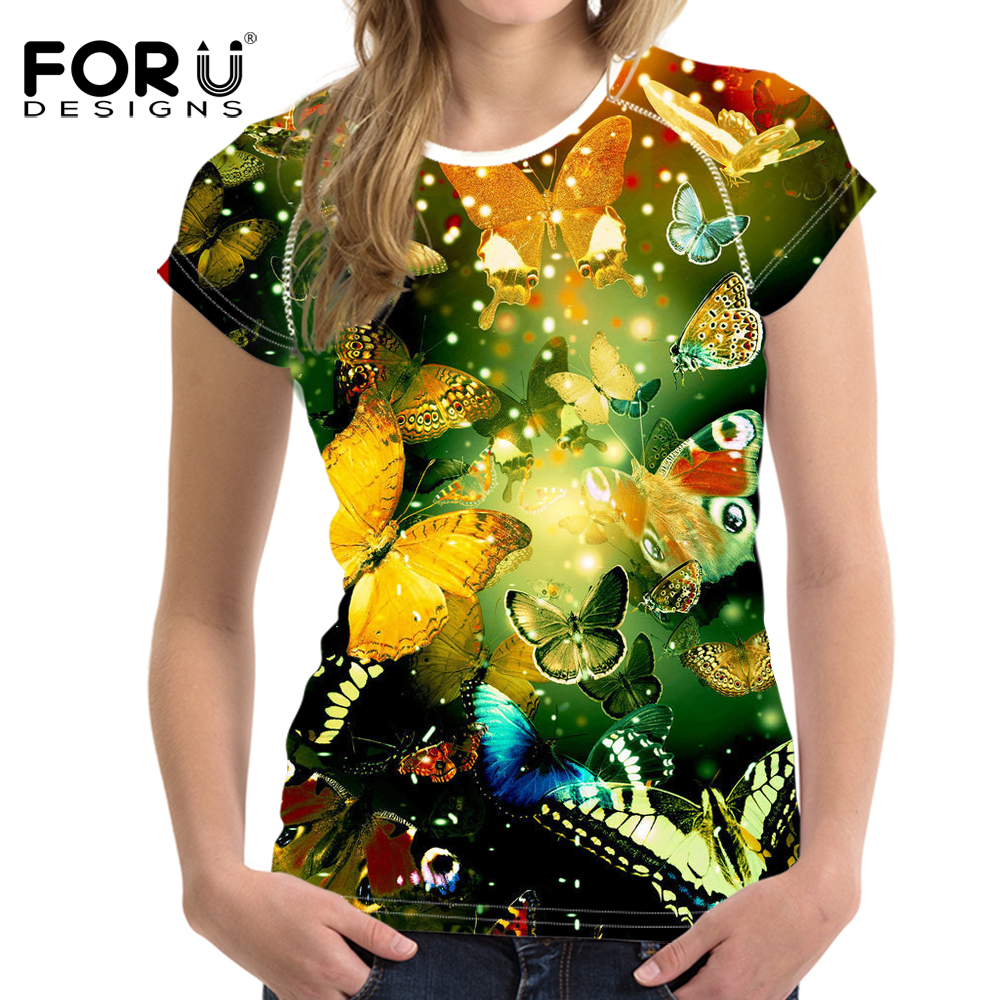 FORUDESIGNS 3D Butterfly Printed T-Shirt Kvinnors Sommar Nyhet Tjejer Tshirts Fashion Cool Ladies Short Sleeve Pretty Tee Tops
