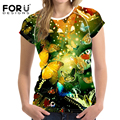 FORUDESIGNS 3D Butterfly Printed T-Shirt Women's Summer Novelty Girls Tshirts Fashion Cool Ladies Short Sleeve Pretty Tee Tops