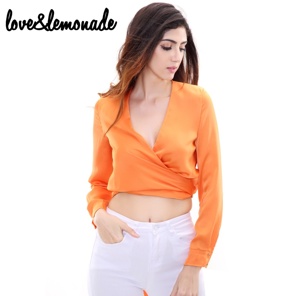 Love&Lemonade Orange Light Polyester Fabric V-Neck Long-Sleeved Blouse TB 9055