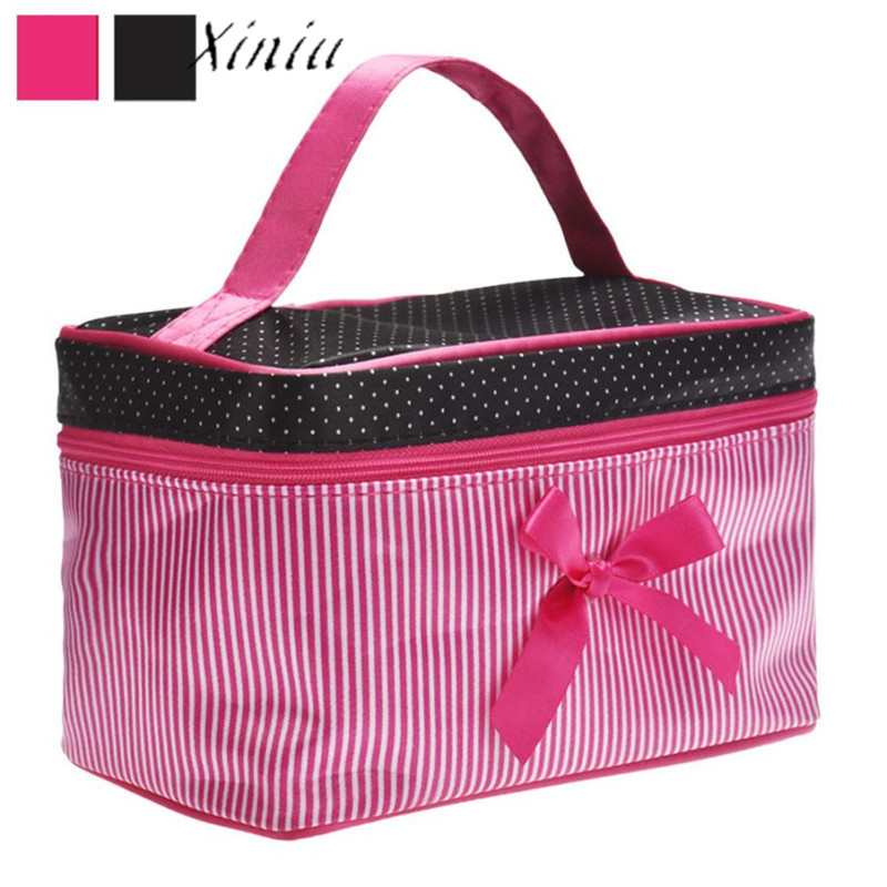 Xiniu 2018 New Women Square Bow Stripe Cosmetic Bag Bow Makeup Bag 19*12*11cm Black Hot Pink Wholesale & Drop Shipping