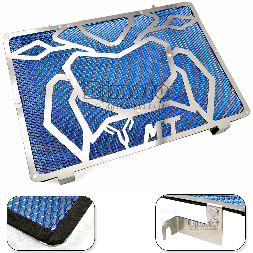 BJMOTO Free Shipping Motorcycle Engine Radiator Bezel Grille Grill Guard Cover Protector Blue For Yamaha MT09 Stainless Steel arashi motorcycle radiator grille protective cover grill guard protector for 2008 2009 2010 2011 honda cbr1000rr cbr 1000 rr