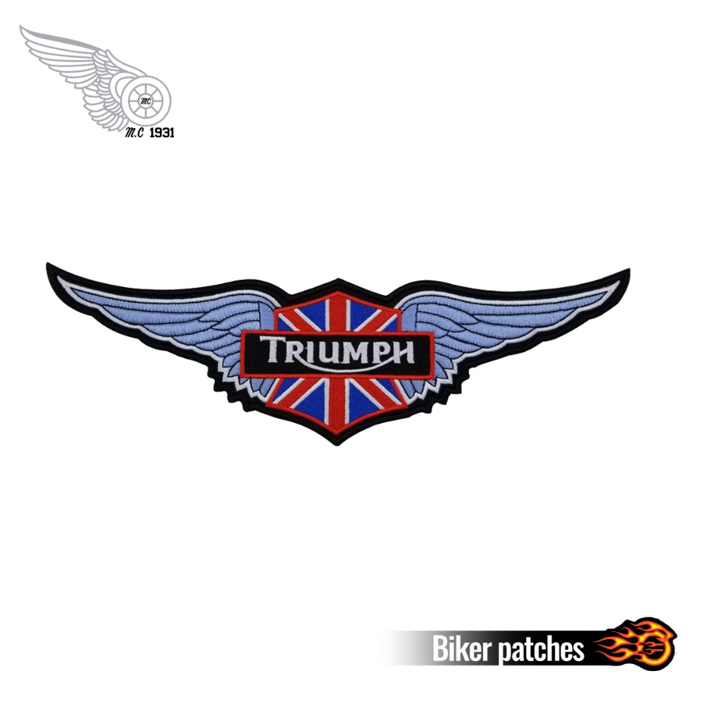 Trumph Patch Custom Motorcycle Biker Embroidered Patches Iron on for Jacket Backing Punk Apparel Free Shipping Accessories Badge