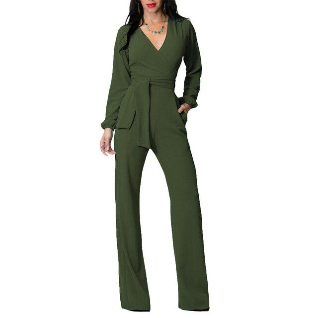 Solid Office Work Wear Long Sleeve Slim Vintage Rompers Womens Jumpsuits Deep V-Neck Night Club Sexy Bodysuit Women Pants Femme