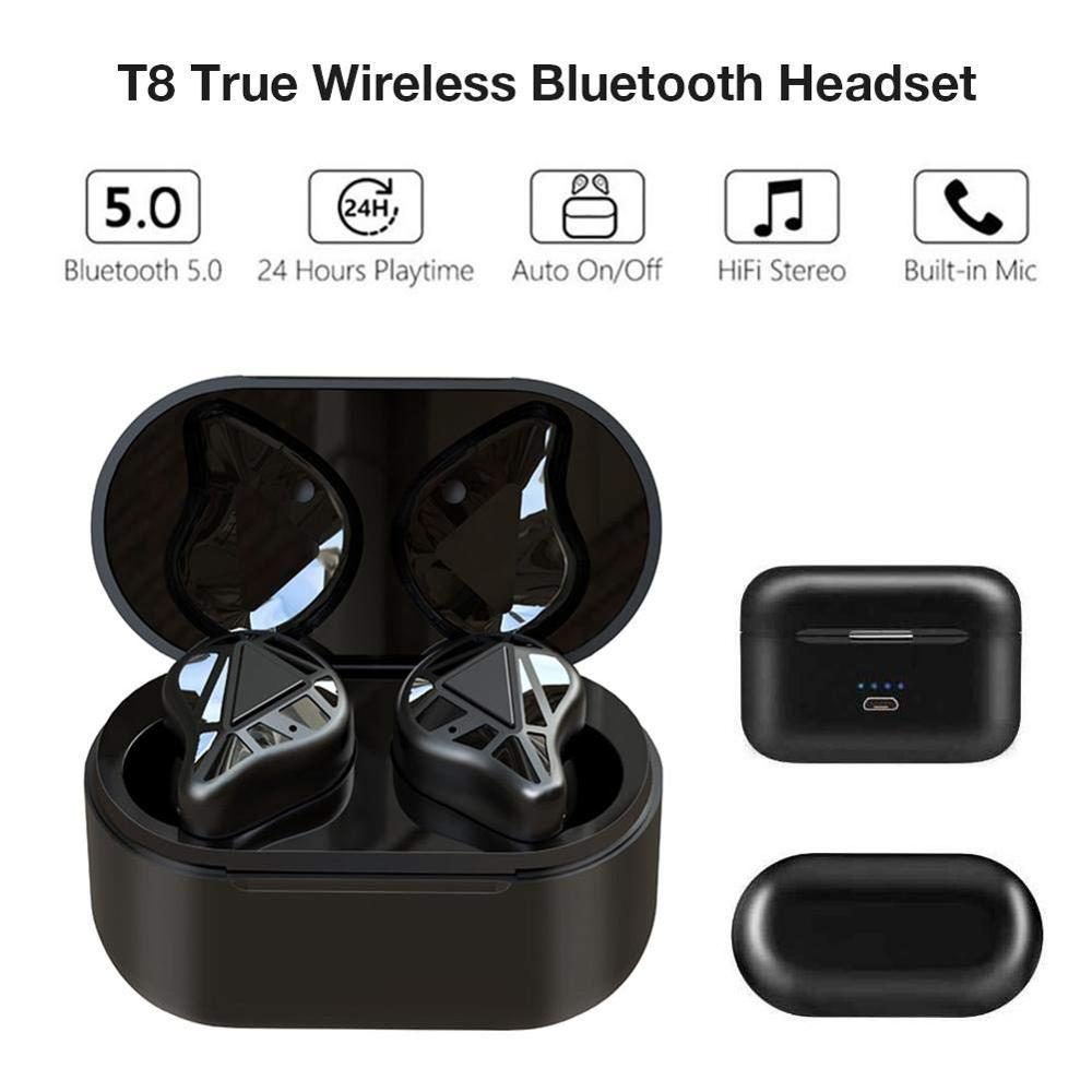 <font><b>T8</b></font> <font><b>TWS</b></font> Bluetooth 5.0 Headset,Half-in-Ear w/ Charging Box Earbuds,True Wireless Headset,18H Cycle Play Time+ Micphone image