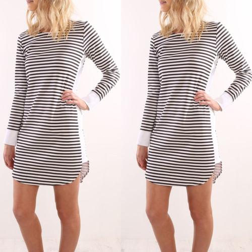 Hirigin 2017 Fashion Women Dress Long Sleeve Casual Loose Stripe Print Dress Summer Sexy Women Dress Home Cloth Free Shipping