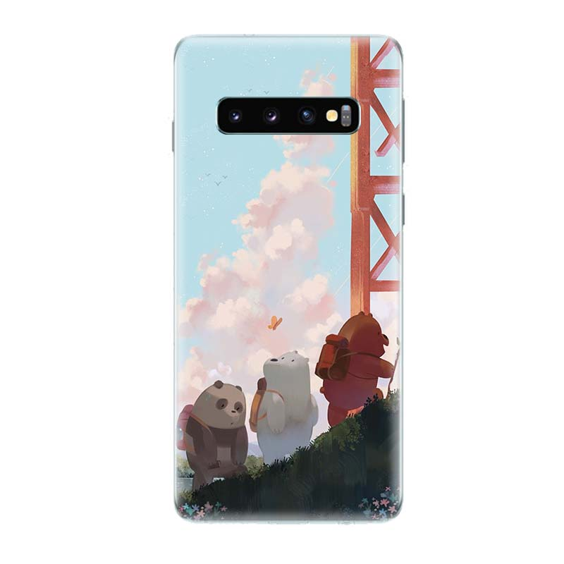 Three Bears Lovely Fit Phone Case for Samsung Galaxy S10 Plus S10E Lite A50 A70 A30 A10 A20E M30 M20 M10 A20 A80 A40 Coque Cover in Half wrapped Cases from Cellphones Telecommunications