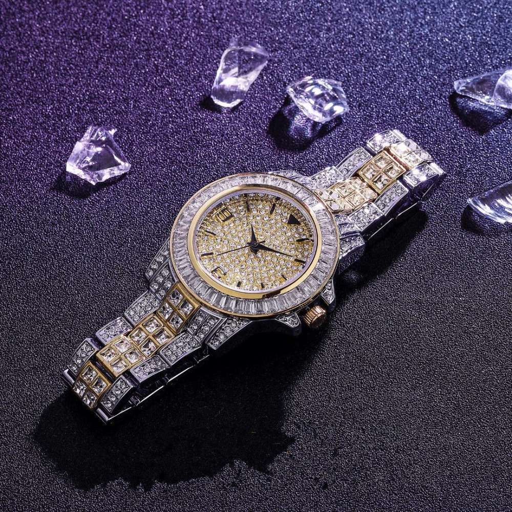 TOPGRILLZ AAA ICED OUT HIP HOP Wrist Watches With Micro pave CZ Stainless Steel Wristband Dropshipping(China)