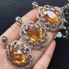 ON SALE only one real s925 silvery gems size 12*16mm 925 silver natural citrine pendant for women pendants neckalces