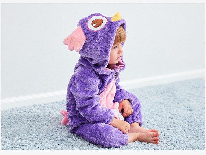 HTB1mt5baMFY.1VjSZFqq6ydbXXaJ Cute Cartoon Flannel Baby Rompers Novelty Rabbit Cotton Baby Boys Girls Animal Rompers Stitch Baby's Sets kigurumi New born 2019
