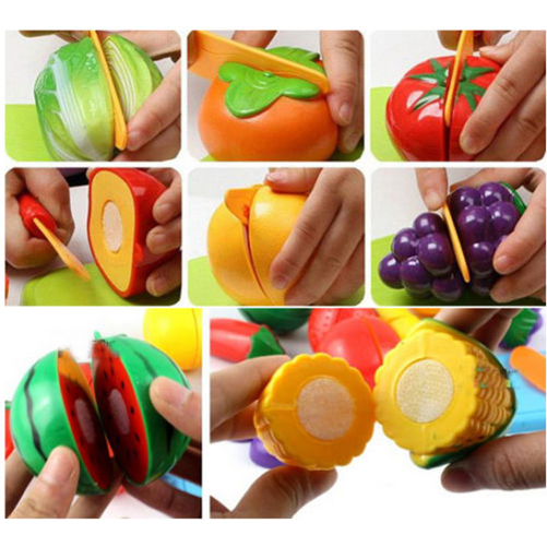 1 Set Kids Baby Pretend Role Play Kitchen Cooking Fruit Vegetable Child Development Toys Cutting Gift