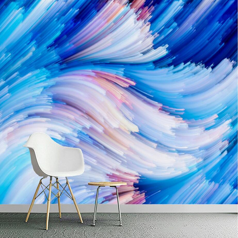 Custom 3D Wallpaper Abstract Photo Wall Murals for Living Room Bedroom Geometric Blue Line Wallpaper 3D Modern Murals Wallpaper blue sky ceiling wallpaper murals modern 3d wallpaper for living room bedroom wisteria flower wallpaper brick ceiling wall