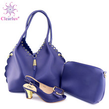 New Arrival Italian Royal Blue Color Shoes And Bag Set For Wedding Party African