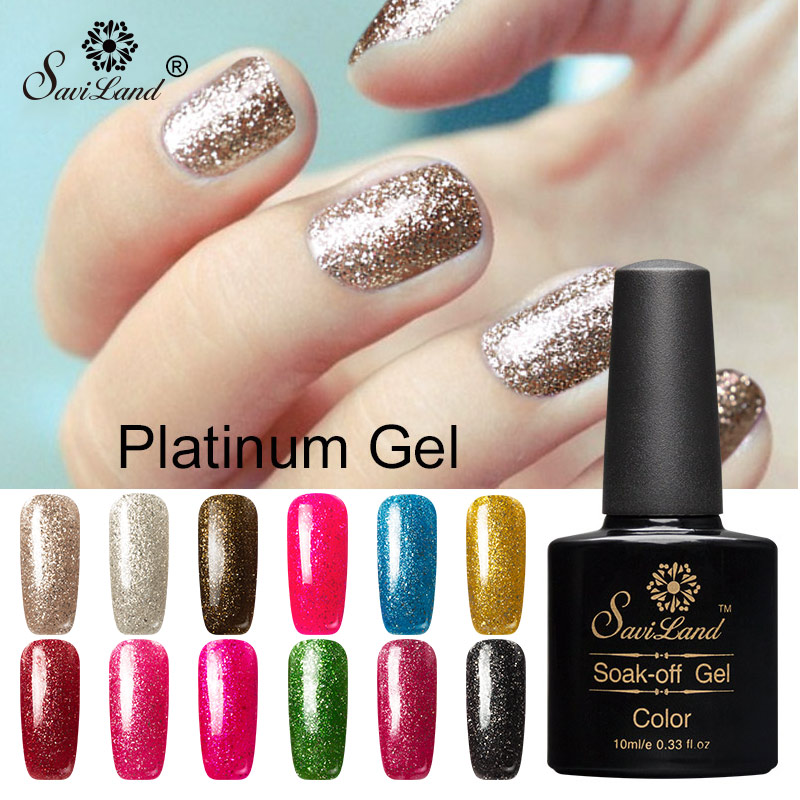 Christmas Nail Art With Gel Polish: Saviland 12 Color Super Glitter Platinum UV Gel Polish