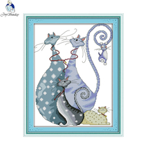Joy sunday Needlework,DIY DMC Cross stitch, Sets For Embroidery kits,Lovely Cats Patterns Counted Cross-Stitching, Home Decor