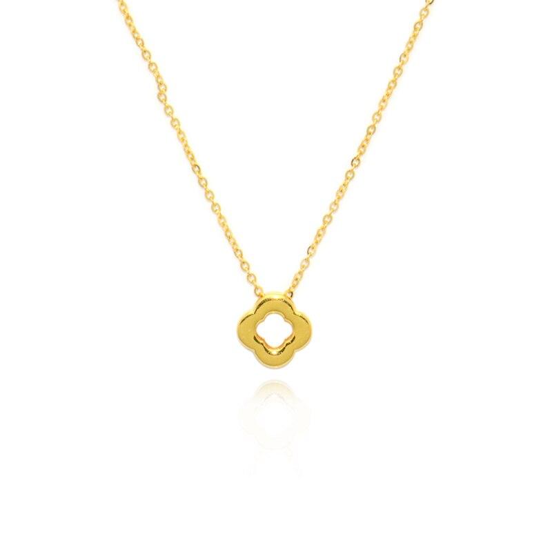 Collier + pendentif au750 chaîne trèfle à quatre feuilles en or 18 K