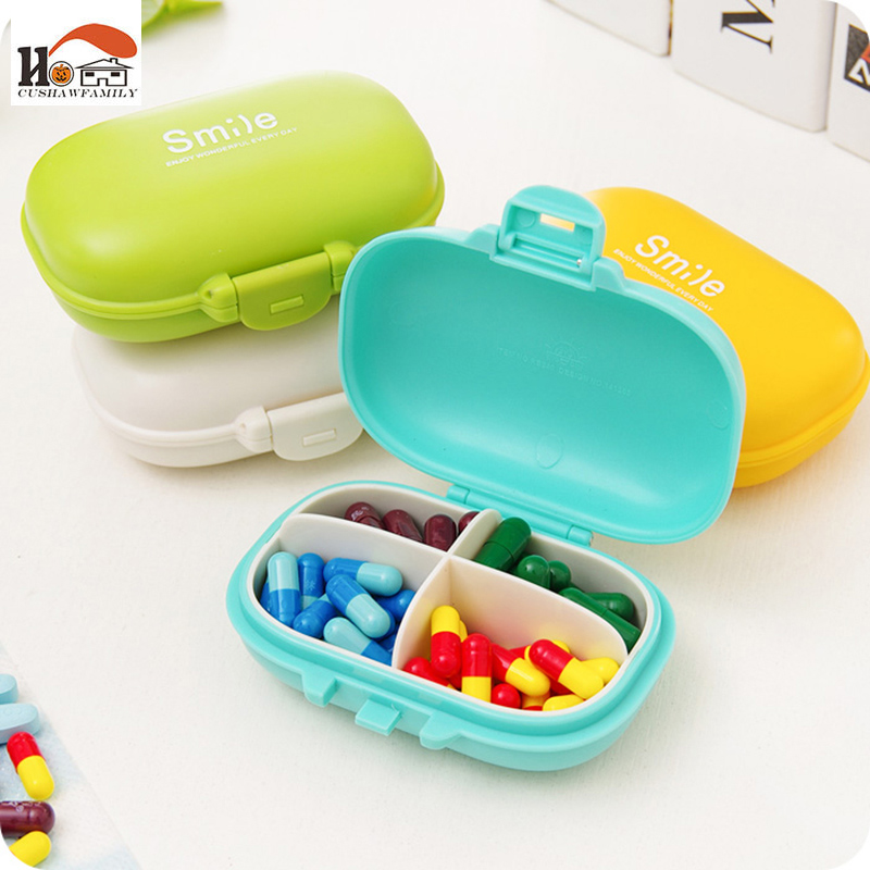 CUSHAWFAMILY Portable 4 grid seal rotation Storage Cases Jewelry candy box Storage Box Vitamin Medicine Pill Box Container