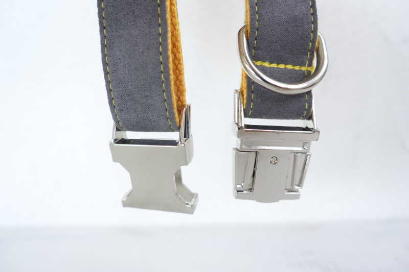 MUTTCO retailing self-design dog collar GRAY COVER YELLOW handmade poly satin and nylon grey and yellow collar and leash UDC026