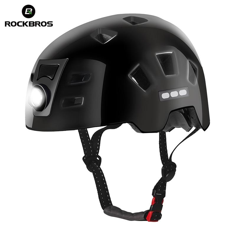 все цены на ROCKBROS Intergrally-molded Bicycle Light Helmet 2 + 1 Bike Headlamp Cycling Helmet Sports Safety Road MTB Bike Helmet Equipment онлайн