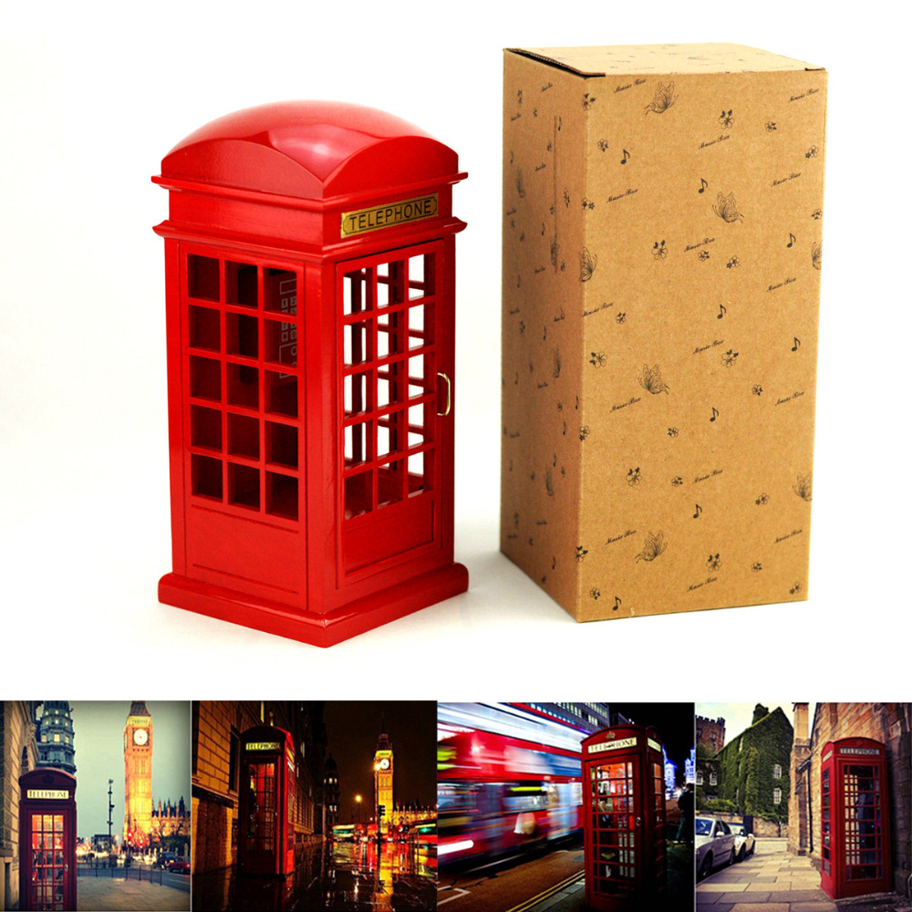 London Street Simulation Phone Booth Boxes Wooden Music Box Wood Crafts Retro Birthday Gift Vintage Home Decoration Accessories In From