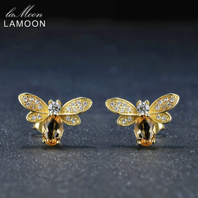 LAMOON 925 Sterling silver jewelry Earring Bee 5x7mm 1ct 100% Natural Citrine Stud Earrings For Women Fine Jewelry S925 EI041-in Earrings from Jewelry & Accessories on Aliexpress.com | Alibaba Group