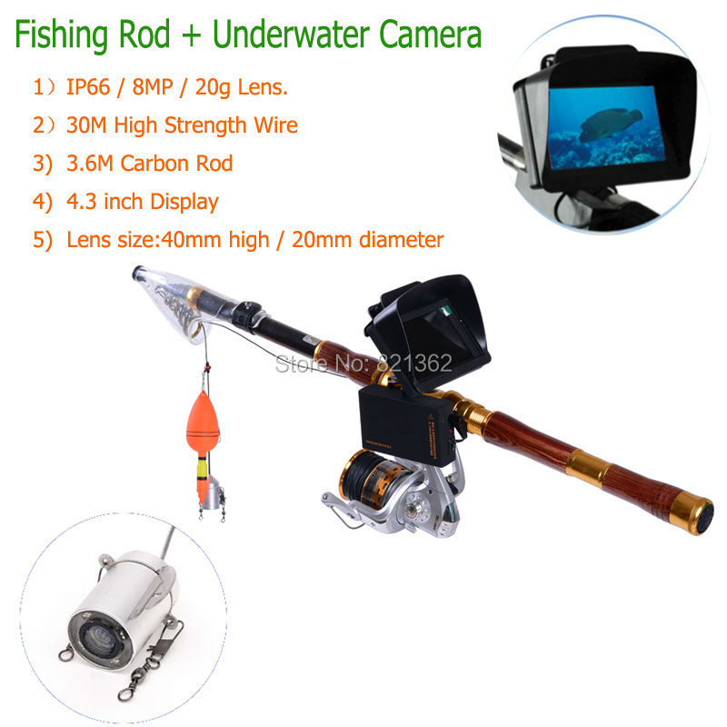 3.6M Carbo Rod with 360 Degree View Underwater Camera Lens Fish Video Cameras Fishing Cameras Fishing Lens Free Ship