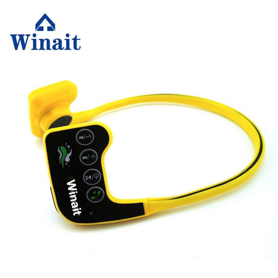 цена на Winait IPX68 Waterproof Bone Conduct 8GB Headset Music Mp3 Player Sports Stereo Headphone 10m Underwater Diving Swimming