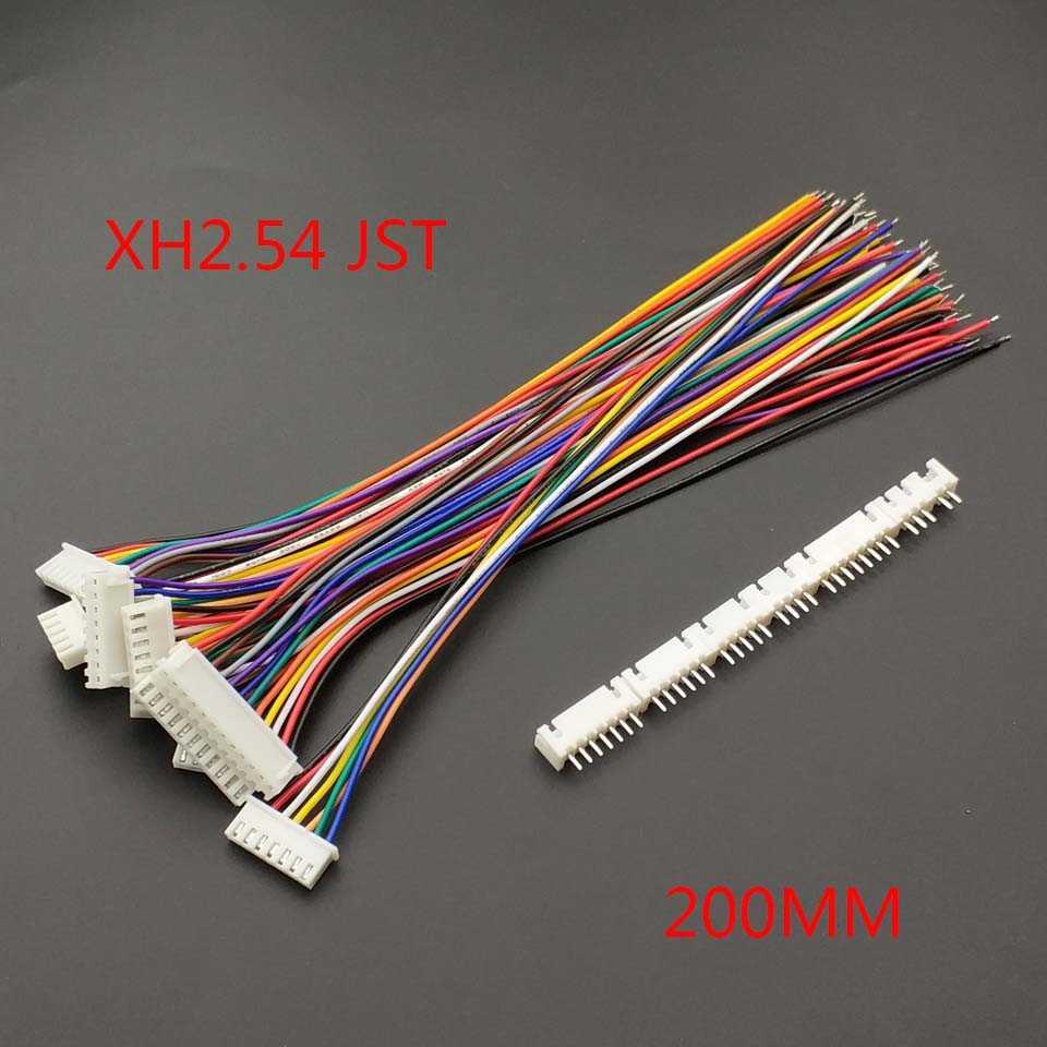 10 шт. XH 2,54 JST вилка соединителя с проводом кабель длиной 20 см 26AWG 2/3/4/5/6/7/8/9/10/11/12 P + XH 2,54 мужской соединитель разъема