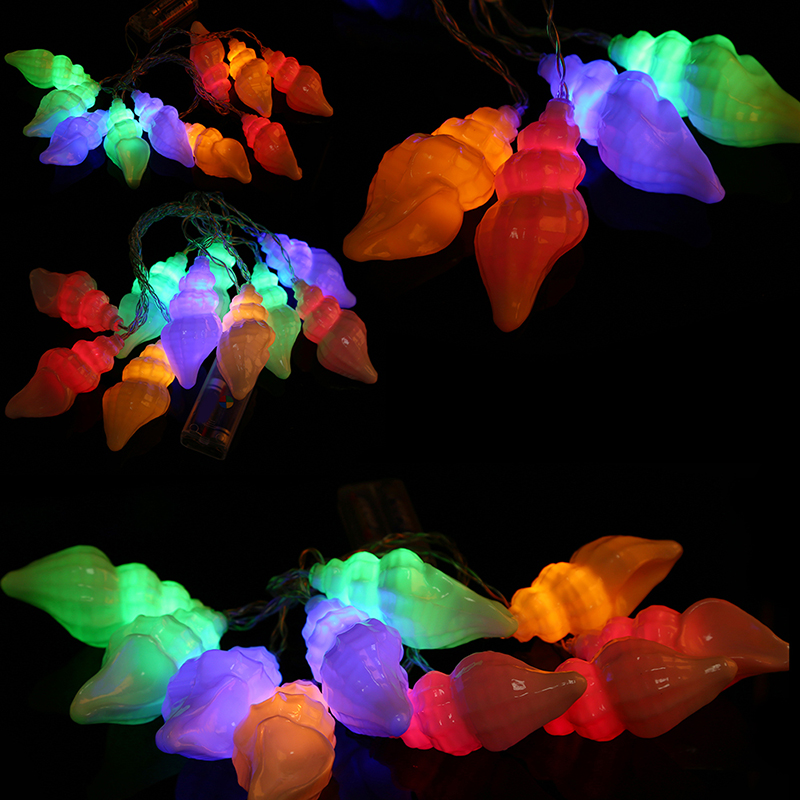 Ocean Style 1.5M 3V 10 Conch LED Batteries Operated Glow Lamp Holiday Christmas Wedding Party String Light Festival Decoration