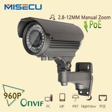 POE 2.8-12mm lente de zoom 960 P HD IP Cámara MiSecu 48 V caliente Power Over Ethernet Out/Interior cctv P2P ONVIF IR de la Visión Nocturna Resistente Al Agua