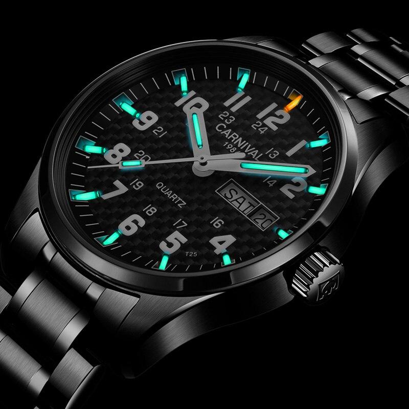 كرنفال أعلى العلامة التجارية الفاخرة ساعة كوارتز الرجال T25 التريتيوم مضيئة المعصم رجل أسود كامل الصلب للماء الساعات relojes-في ساعات الكوارتز من ساعات اليد على  مجموعة 1