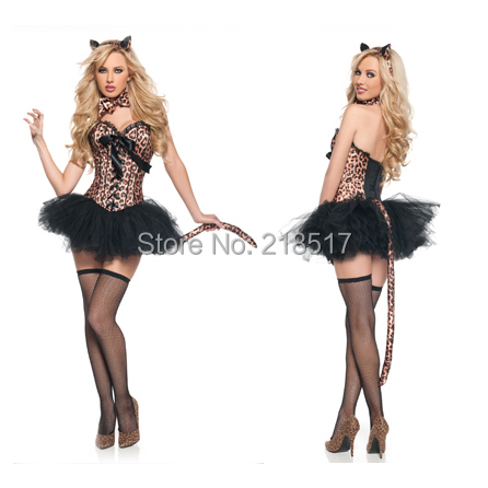 leopard cosplay dress cat girl suit halloween masquerade costume corset dress uniform temptation clothes set sexy - Masquerade Costumes Halloween