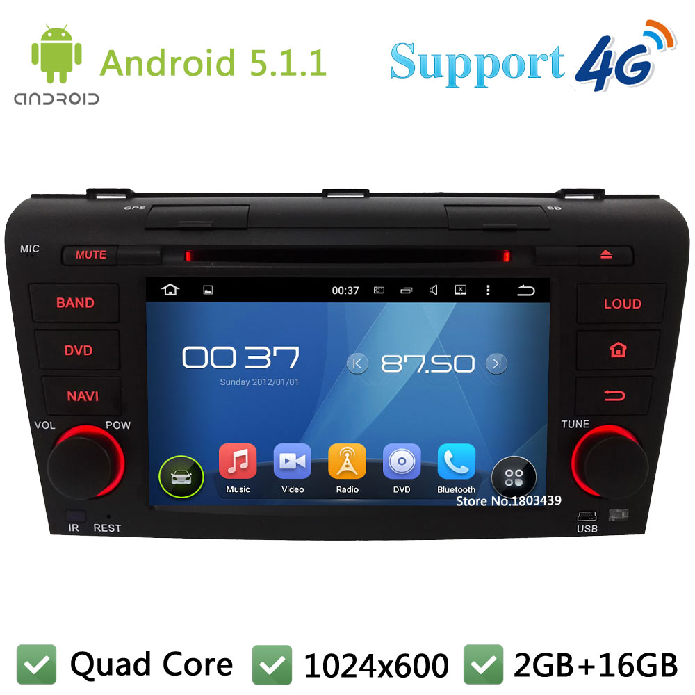 Quad Core 7″ 1024*600 2DIN Android 5.1.1 Car DVD Video Player Radio Stereo Screen DAB+ 3G/4G WIFI GPS Map For MAZDA 3 2004-2009