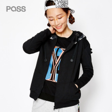 PASS New Women Fashion Jacket Wide-Waisted Hooded Zipper Outwears Female Short Cotton Jacket Coat