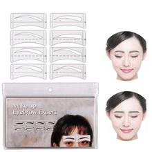 BellyLady 32 Pcs/Set Fashion Eyebrow Template Stickers Makeup Stencils Drawing Card