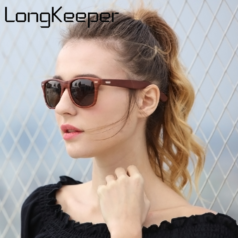 LongKeeper 2018 Summer Fashion Goggles Men Sunglasses gafas de sol Wood Color Sun glasses For Women Brand Designer Glasses