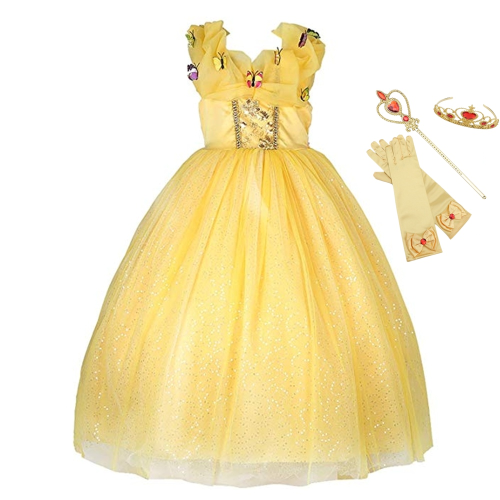 Girls Belle Dress up Princess Costume Yellow Party Ball Gown Cosplay Dresses
