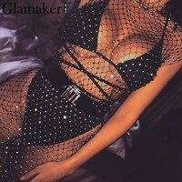 Glamaker Transparent drill grid party dress Long black holiday sexy dress Women fitness chic bodycon winter dress 2018 vestidos