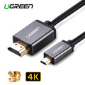 Ugreen Micro HDMI to HDMI Cable 2M Gold-Plated 1.4 3D 4K 1440P High Premium Cable Adapter for HDTV XBox Mobile Phone Table Cable
