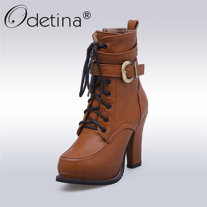 Odetina 2017 New Fashion High Heels Ankle Boots Platform Lace Up Buckle Women Block Heel Boots Ladies Winter Shoes Plus Size 43 plus size platform high heels boots lace up chunky heel ankle boots for women new fashion booties martin shoes woman black