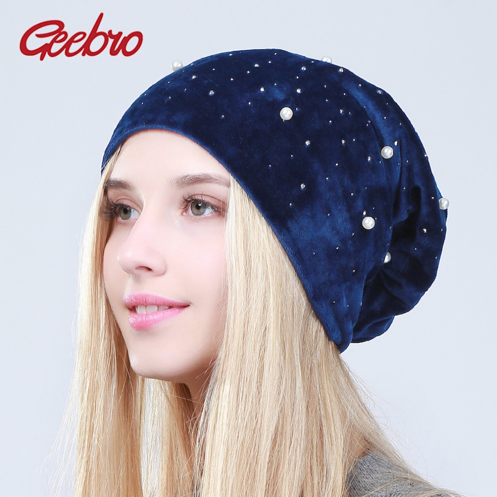 Geebro Brand New Women's Skullies Beanies Fashion Pearl Rhinestones Slouchy Beanie Hat for Female Winter Warm Soft Velvet Hats
