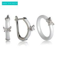 MECHOSEN Bridal Jewelry Sets Earrings Rings White Black Shining Ceramic Aros Mini Butterfly Gemstone Aretes Parure