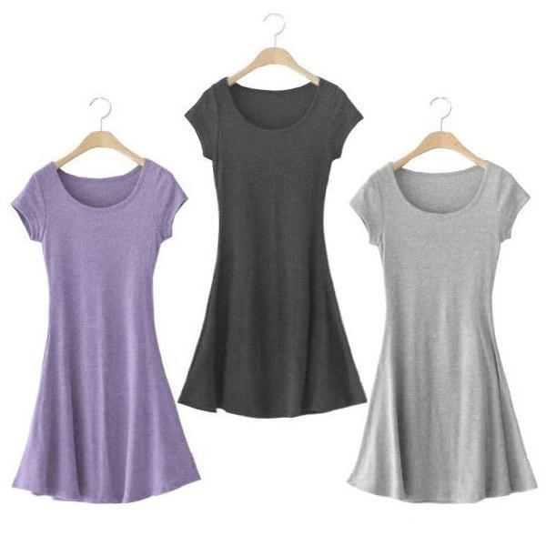 New women soft cotton crew neck sundress casual short for Soft cotton dress shirts