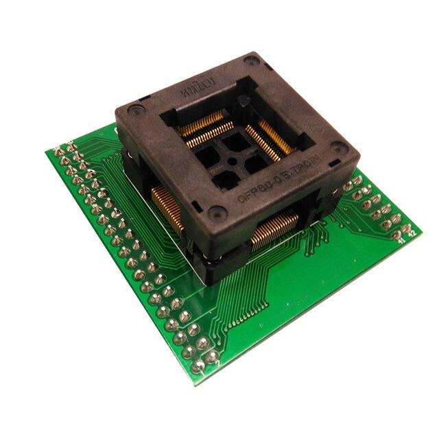 Tqfp80 fqfp80 qfp80 para dip80 OTQ 80 0.5 02 queimar no passo do soquete do teste 0.5mm ic tamanho do corpo 12x12mm adaptador de programação soquete zif