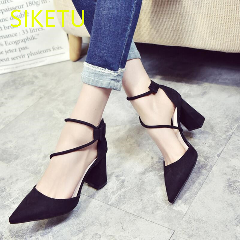 SIKETU 2017 Free shipping Spring and autumn women shoes high heels shoes fashion sweet  Wedding shoes Straps pumps g074 siketu 2017 free shipping spring and autumn women shoes fashion high heels shoes wedding shoes sex was thin pumps g230