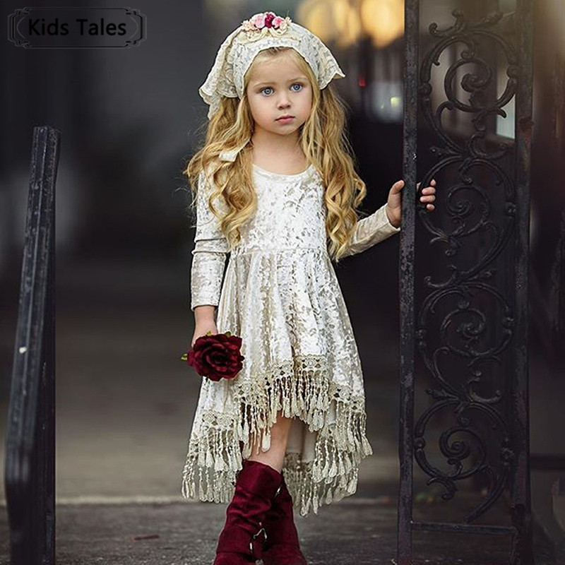 SQ413 Fashion Vintage Princess Kids Baby   Flower     Girls     Dress   Velvet Tassel Long Sleeve Party   Dress   Gowns