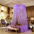 Романтическая фиолетовая подвесная купольная москитная сетка обработанная инсектицидами сложенная кружевная Полиэстеровая круглая моск...